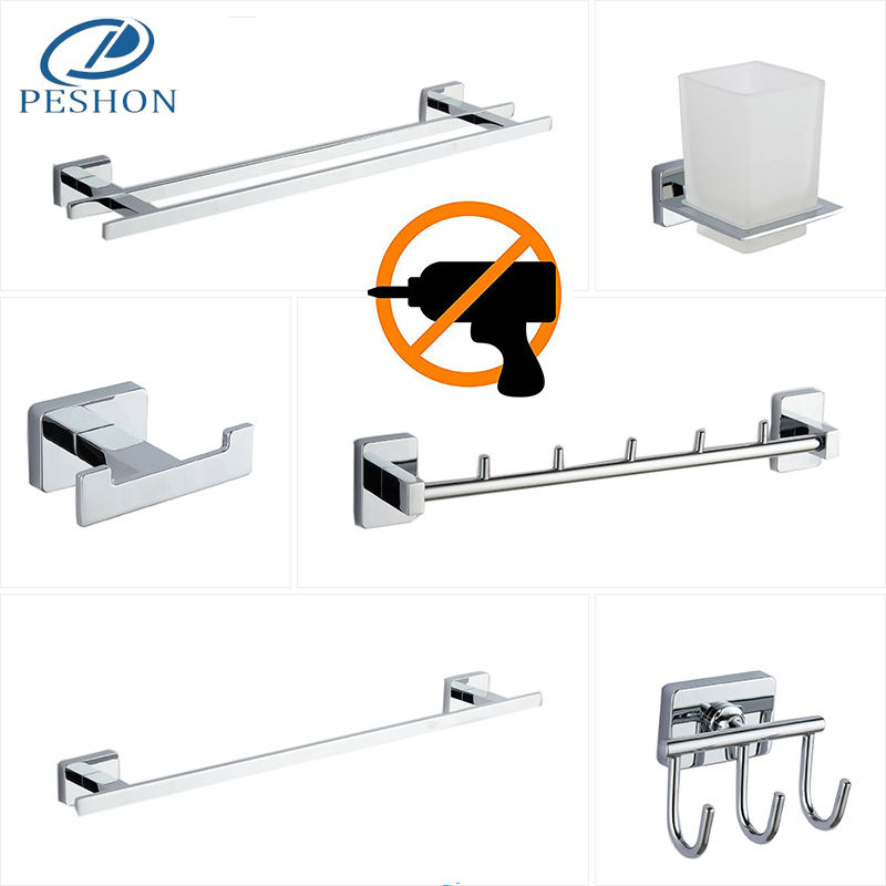 Quality assurance no drilling or by screws wall mount zinc alloy bathroom accessories set