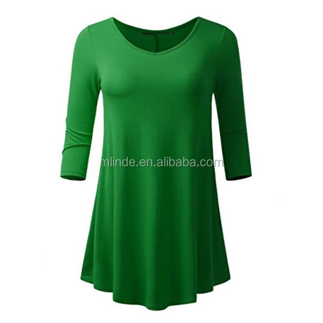 India Wholesale Cotton Tunic Mint Green Solid Blank Custom Design Women Ladies Flare Hem Tunic Tops