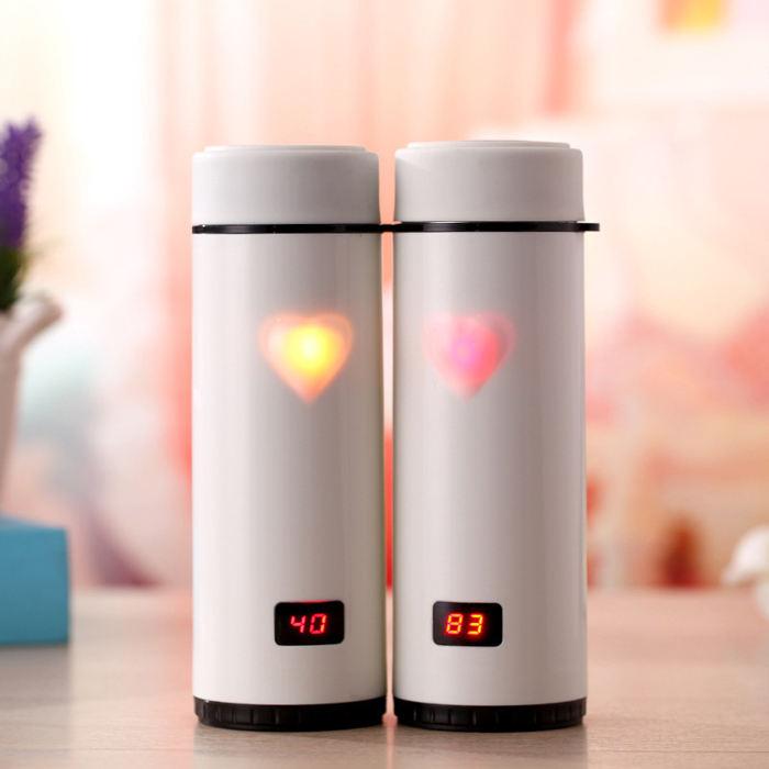 OXGIFT Alibaba Fabricação Amazon dom Criativo LED inteligente copos copos de aço inoxidável casais amor toque quente