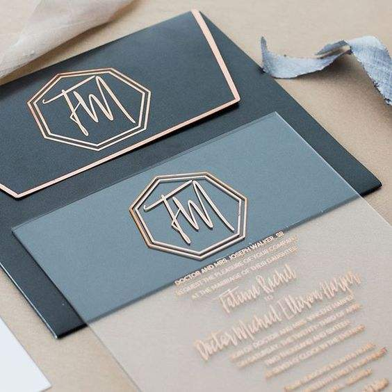 Customized luxury wedding acrylic invitation with envelope IC-021