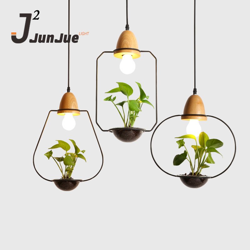 Metal Pendant Lamp Matte Black Industrial Vintage Light Simple Nordic Plant Chandelier Small Fresh Green Lamps New product