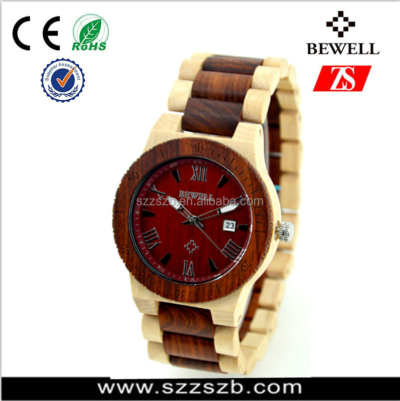 Bewell promotional explosion models wood watch natrual sandalwood/Zebra/Maple Watches
