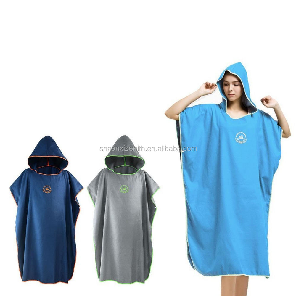 Microfiber Surf Beach Wetsuit Changing Towel Bath Robe Poncho with Hood