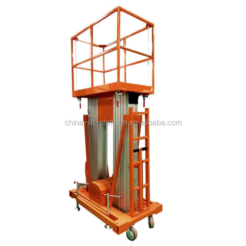 Aluminum mast Lift platform lowered - 10m single- columned for aerial work/lift platform /hydraulic manlift