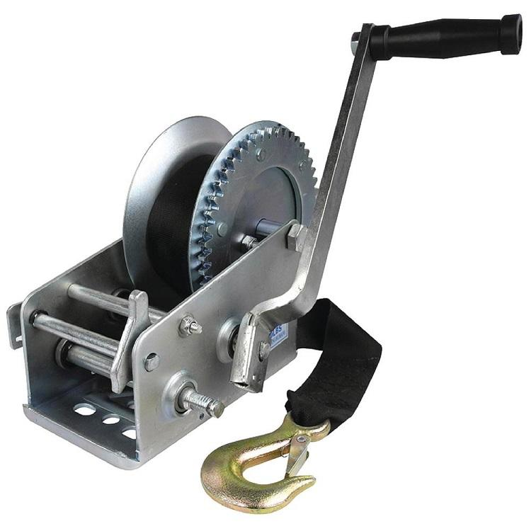 Hand Winch 3300lb 3 Gear Ratchet Webbing Length 7.5m Boat Winch Flexible Handle winch
