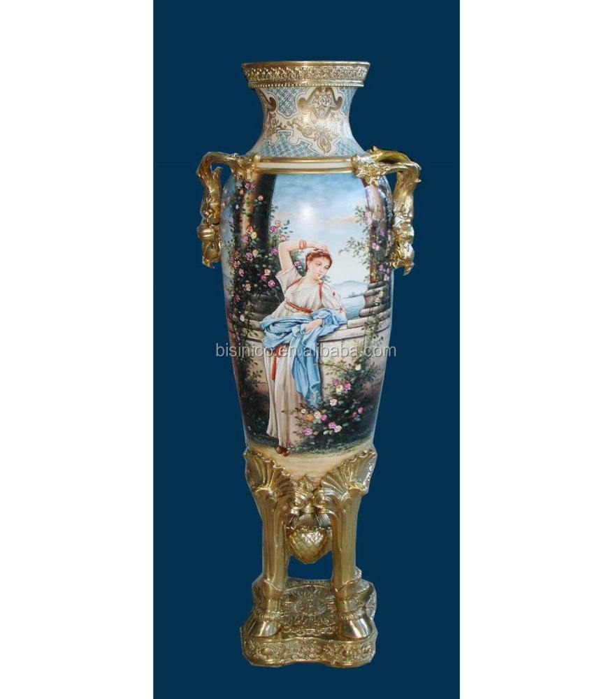 Luxury Baroque Porcelain Large Vase/Porcelian Light Blue Vase/Home Decor Antique Vase With Gilt Bronze Base and Handle