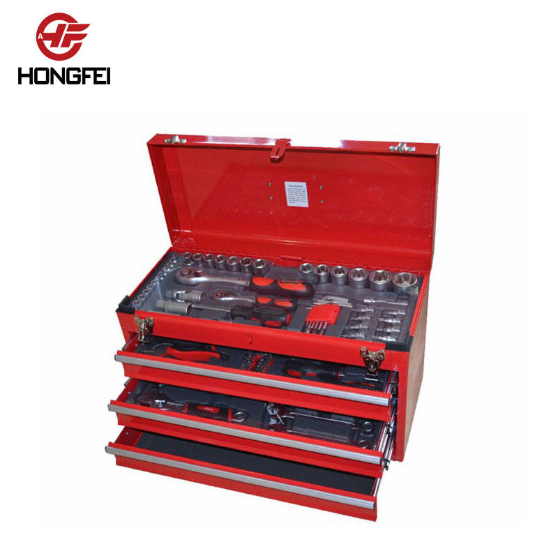 3 drawer mini metal tool box with 105pcs tools