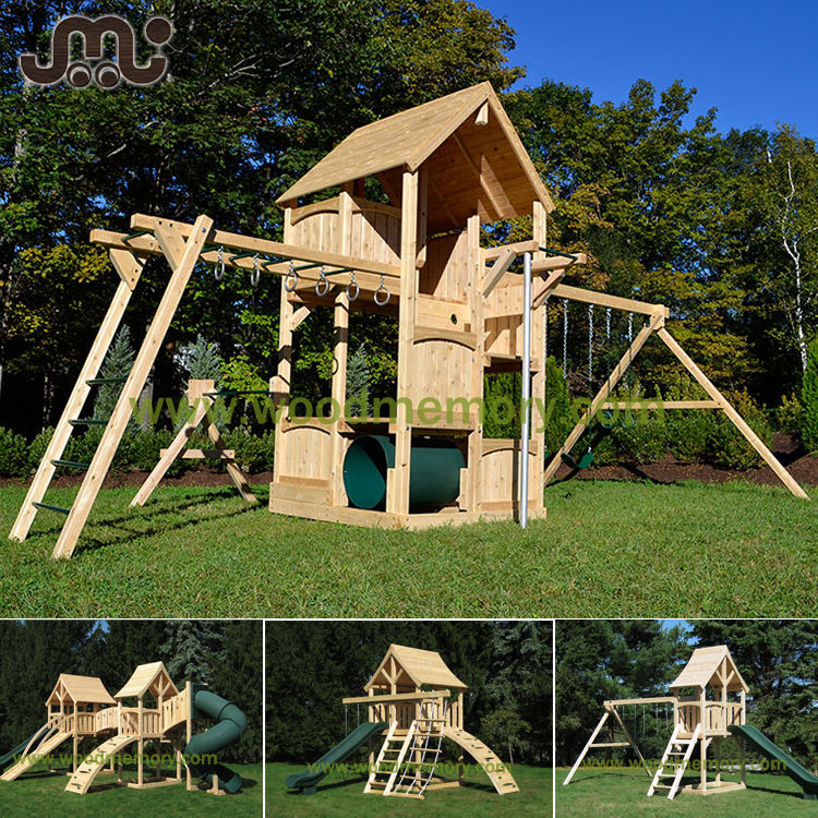 Natural chamfered wooden kids playground,popular super fun outdoor playground