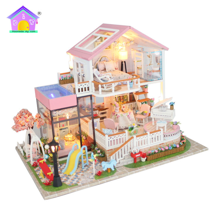 Wholesale wooden doll house furniture model with furniture best friend birthday wishes