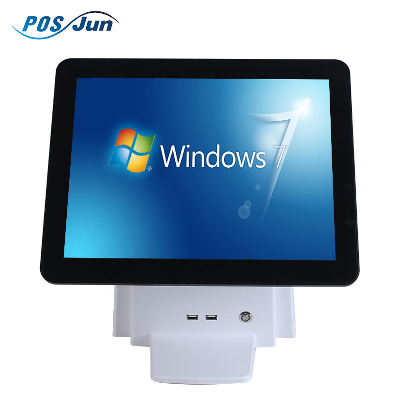Dual screen 15 inch all in one computer touch restaurant pos terminal/point of sale machine