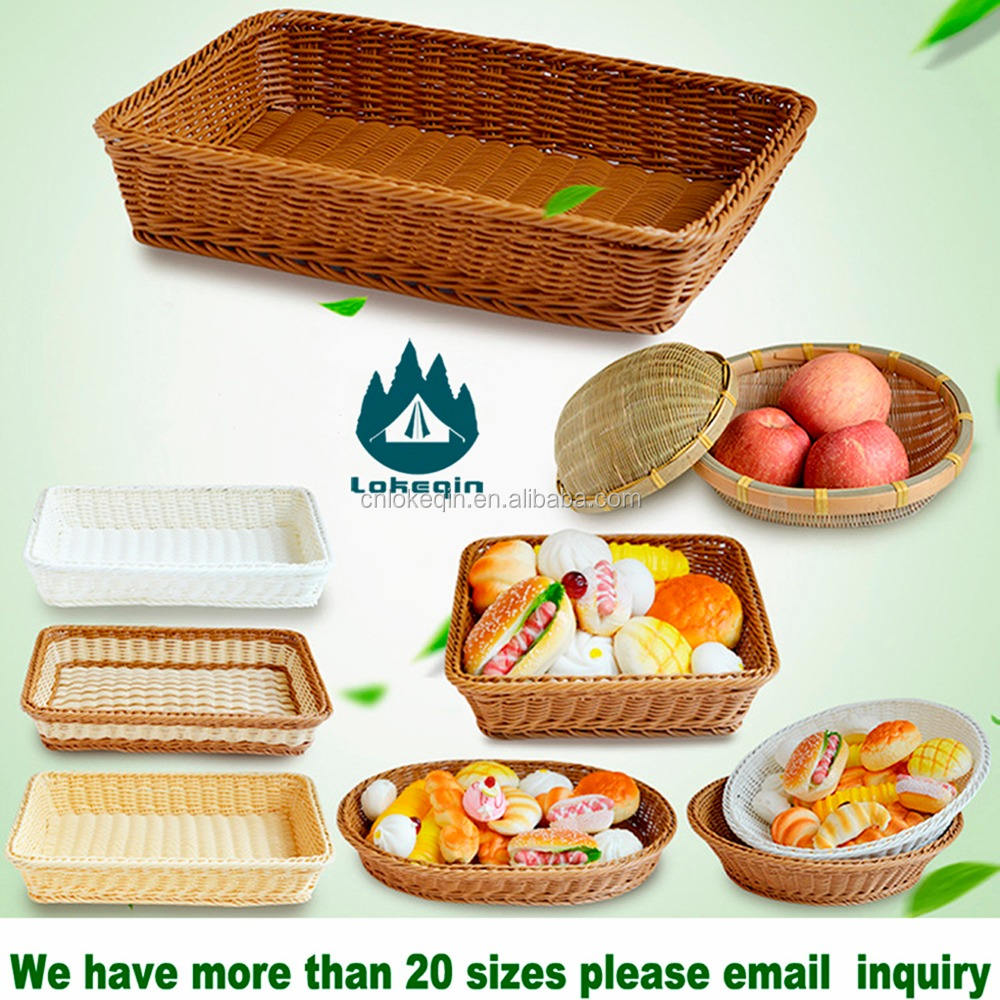 Brand Chain Restaurants Use High-end Quality Handmade Fruit Basket Rattan Bread Baskets Use for Airline,Hotel