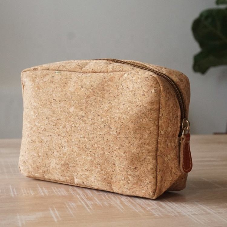 New arrival customized eco friendly cork cosmetic hand bag cork fabric makeup zipper bag