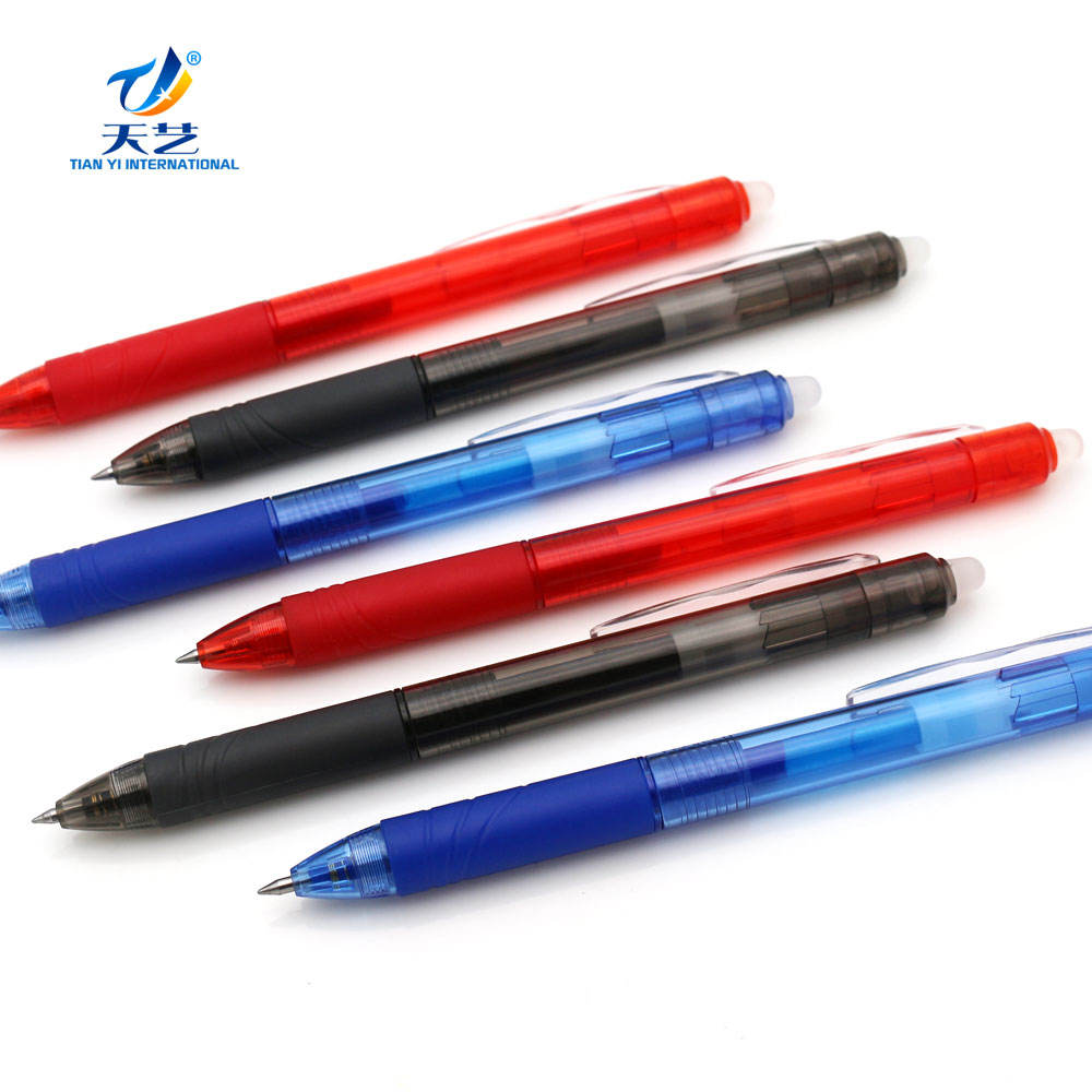 Different Invisible Erasable Gel Ball Pen barrel style Click pen with eraser