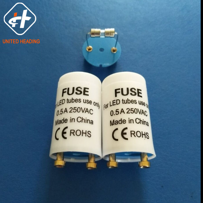 PC/PP out shell copper pin blue plastic board 250V 0.5A led starters with fuse