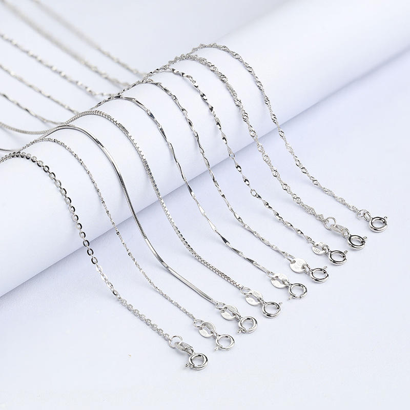 Best Selling 925 Sterling Silver Box Chain jewelry base Italian adjustable 16-18-24 inch necklace Jewelry For Women