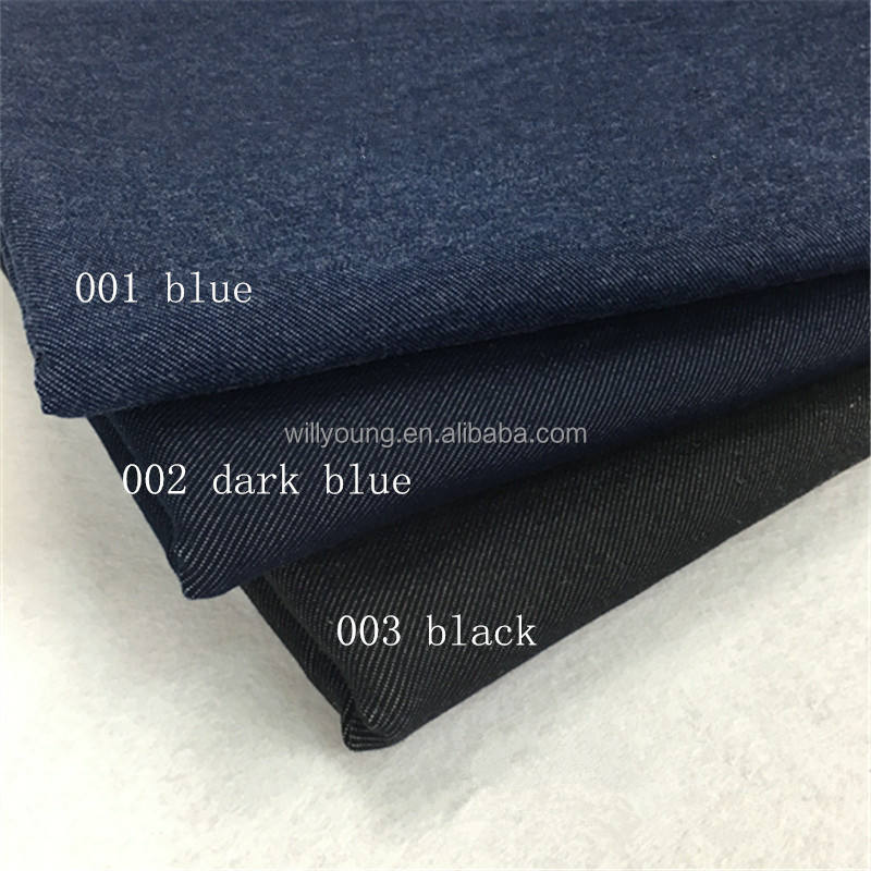 denim fabric 95% cotton 5% spandex stretch medium thick solid knit Jeans fabric blue dark blue colors for shirt miniskirt jeans