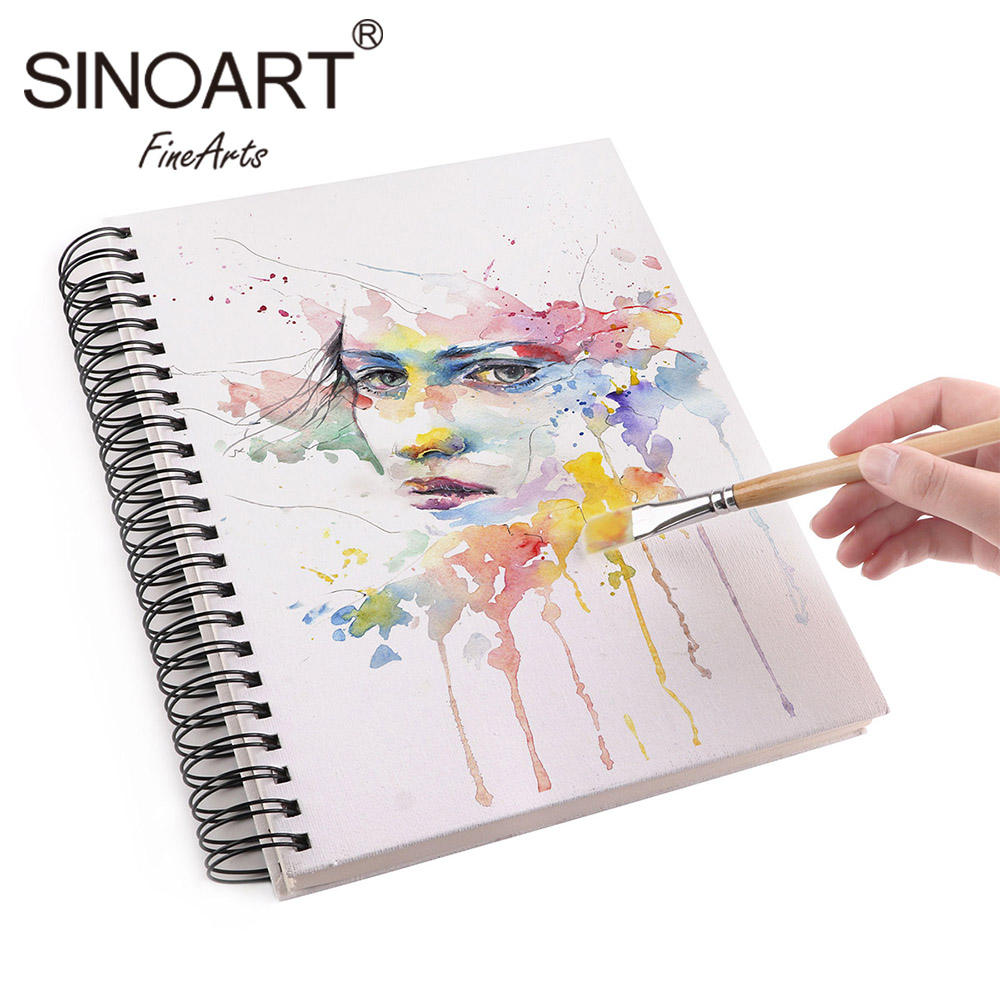 Customized A3 A4 A5 Canvas Cover Artist Spiral Notebook Sketch Book Sketchbook