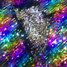 Iridescent Reversible Rainbow Two Tone Sparkle 5mm Net Custom Colorful Sequin Fabric