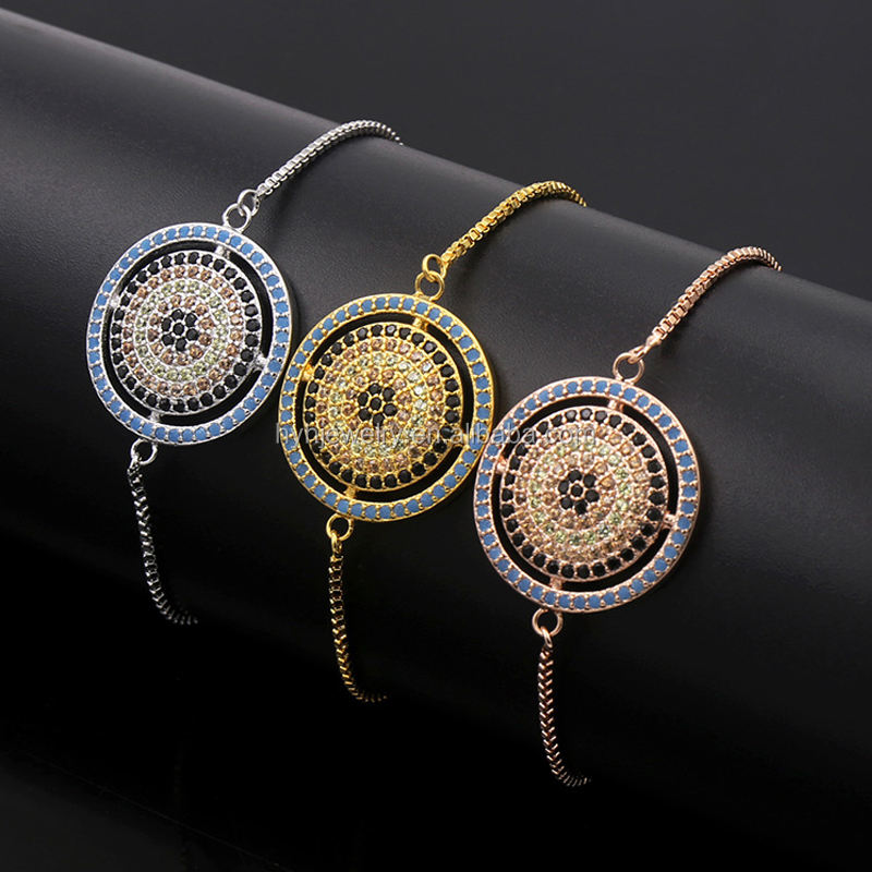 HYH JEWELRY pave cz zircon jewelry ,evil eye adjust tennis bracelet,wholesale turkish evil eye bracelets