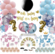 Gender Reveal Party Supplies Deluxe Baby Shower Decoration Kit with Premium Gold Banner Garland
