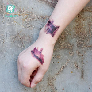 Nieuwste Halloween Zombie Bloed Lip Hand Tattoo Sticker Halloween Accessoires Met Terreur Litteken Wond Tattoo