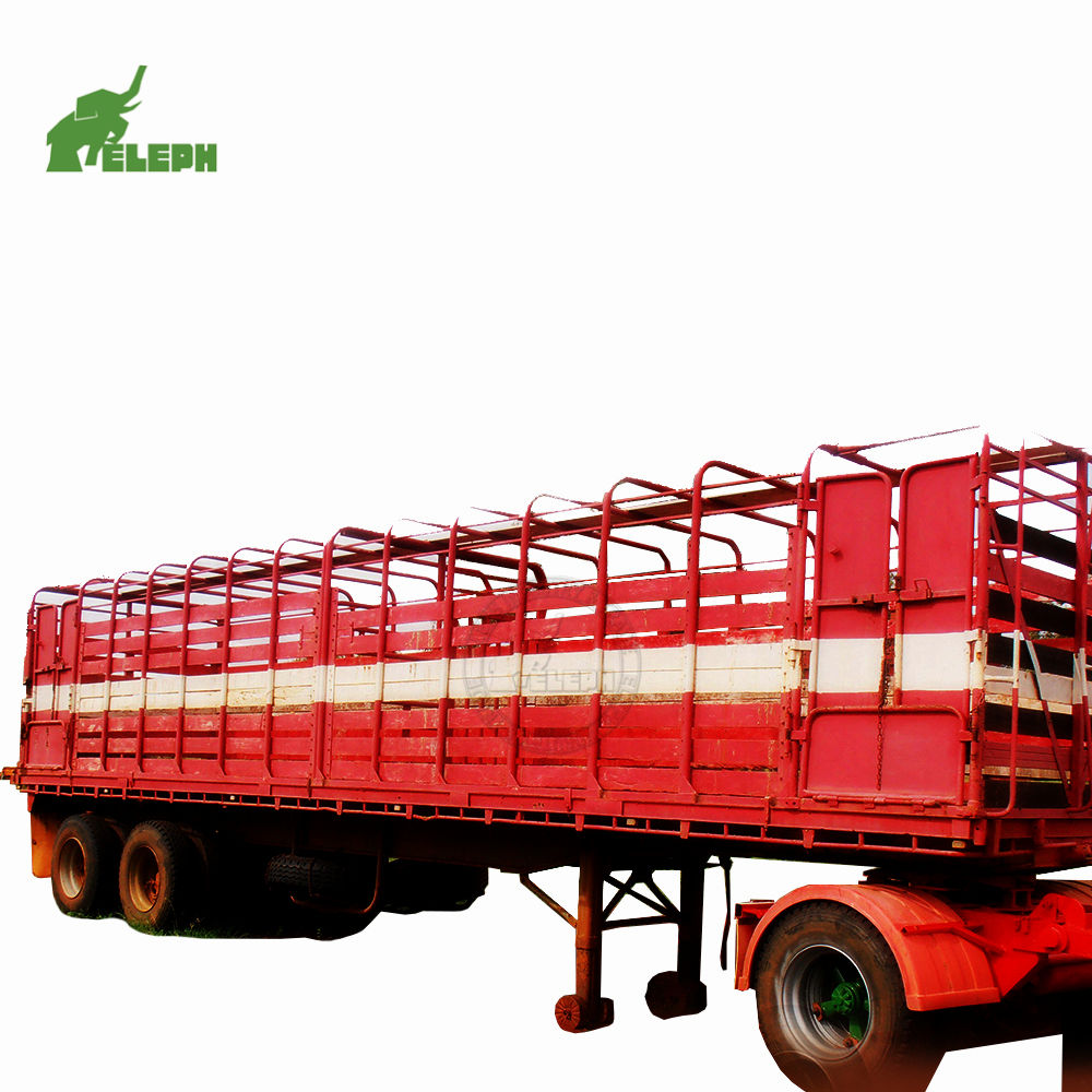 3 axle 40ton side board transport animals cattle stake cage cargo fence semi trailer