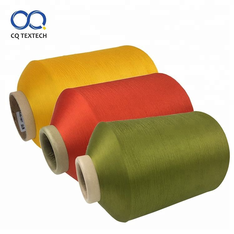 CQ Popular dyed recycled 100 polyester ring spun yarn for embroidery
