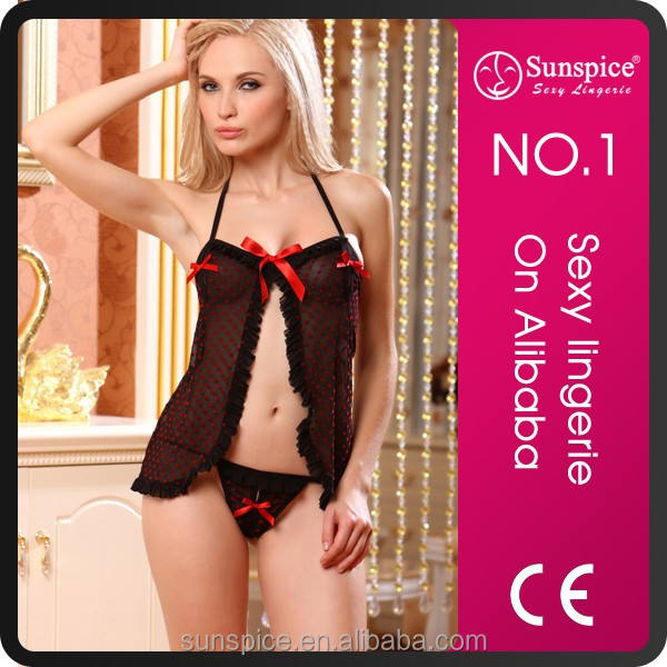 Sexy Asterisk Dot Chemise & Tanga Set Black Sheer Babydoll