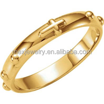 Stainless steel 18K Gold Silver Two Tone Rosary wedding band Spinner Ring for men