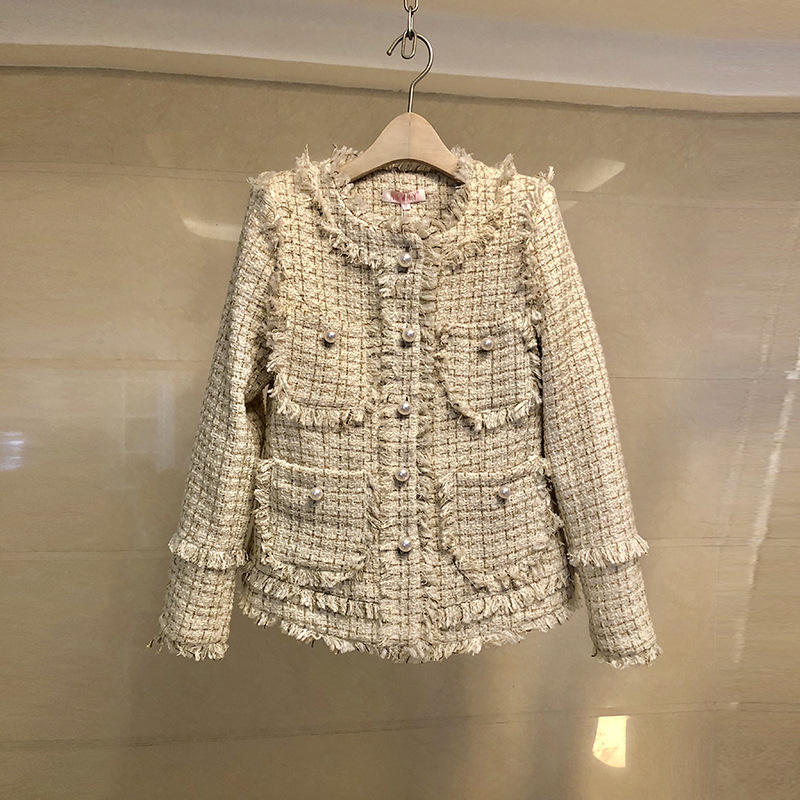 Fashion British Blazer hot sell high quality double-breasted white tweed blazer woman Trench buttons winter Tweed jacket coat