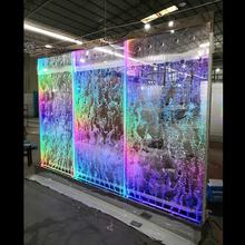 luxury led acrylic colourful water bubble wall room divider with mirror stainless steel base