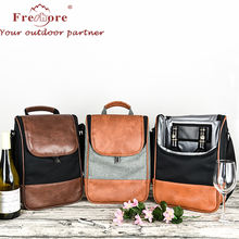 High Quality Insulated Eco-Friendly wine Cooler Bag/promotion PU leather  wine tote carrier   bottle  thermal  bag