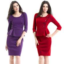 Ladies Plus Size Pencil Dress Design Fashion Office Wear Women Career Dress