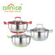 2018 NEW silicon bottom stainless steel kitchen cookwares set cooking pot