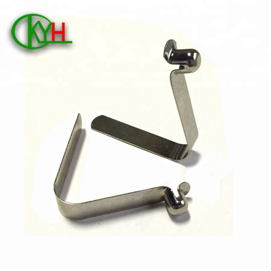 OEM nickel plated small tube push button spring clips