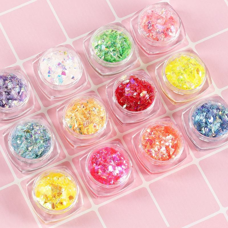 Hot Selling 12 colors Nail Beauty Items 3D Decal DIY Nail Decoration Irregularity Shell Debris Sticker