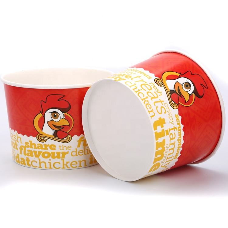 Disposable take away paper fried chicken bucket / cup with lid