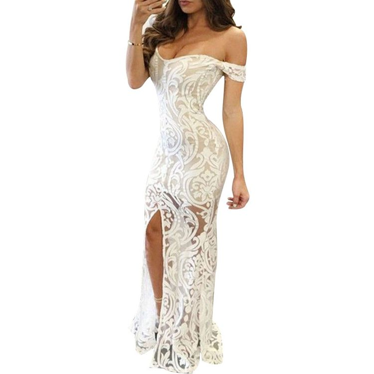 Wholesale Formal Sexy Evening Gown Women White Lace Evening Dress Long