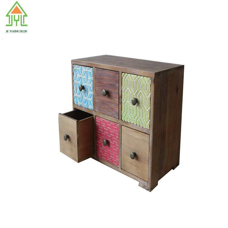 Antique small wood chest wooden drawer box codiment box set storage drawers for promotion