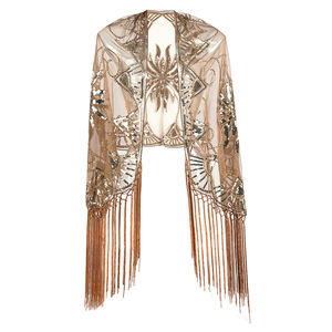 Women's 1920s sequin beaded flapper shawl wrap fringed gatsby wedding cape evening scarf