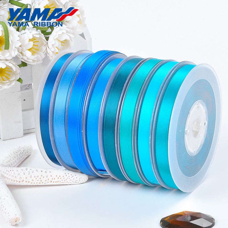 YAMA Factory Stocked Wholesale Polyester Single/Double Faced Sky Blue Satin Ribbon