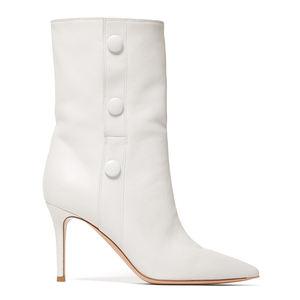 WETKISS Plus Size 15 Bruiloft Bruids Schoenen Mode Witte Laarzen Dunne Hoge Hak Laarzen Vrouwen Schoenen Mid kalf Laarzen winter