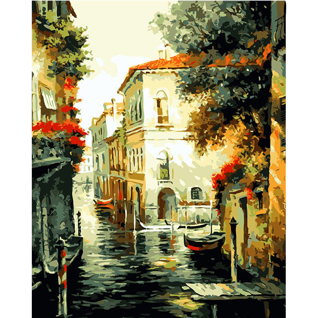 Venice River Channel Scenery Acrylic DIY Oil Painting Paint by Number for Wholesale