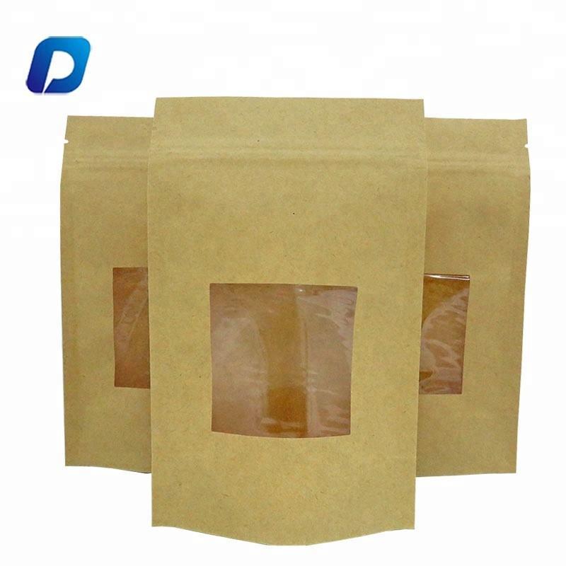 Wholesale doypack ziplock dry food packing plain brown kraft paper bags with clear window