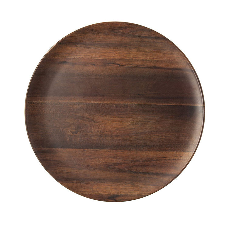 Classic non toxic walnut wood material round fruit tray