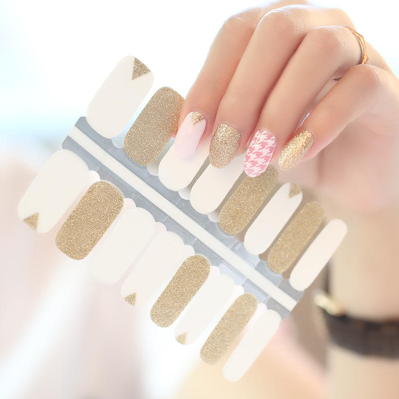 2020 New Hot Selling Nail Polish Stickers, 16pcs/strips Nail Wrap, Glitter Nail Art Supplier