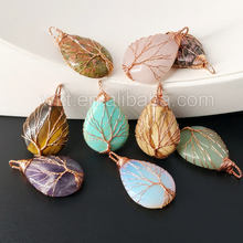 WT-P932 Fashion wire wrapping gemstone pendant for necklace,rose gold plated gemstone pendant life of tree jewelry for women