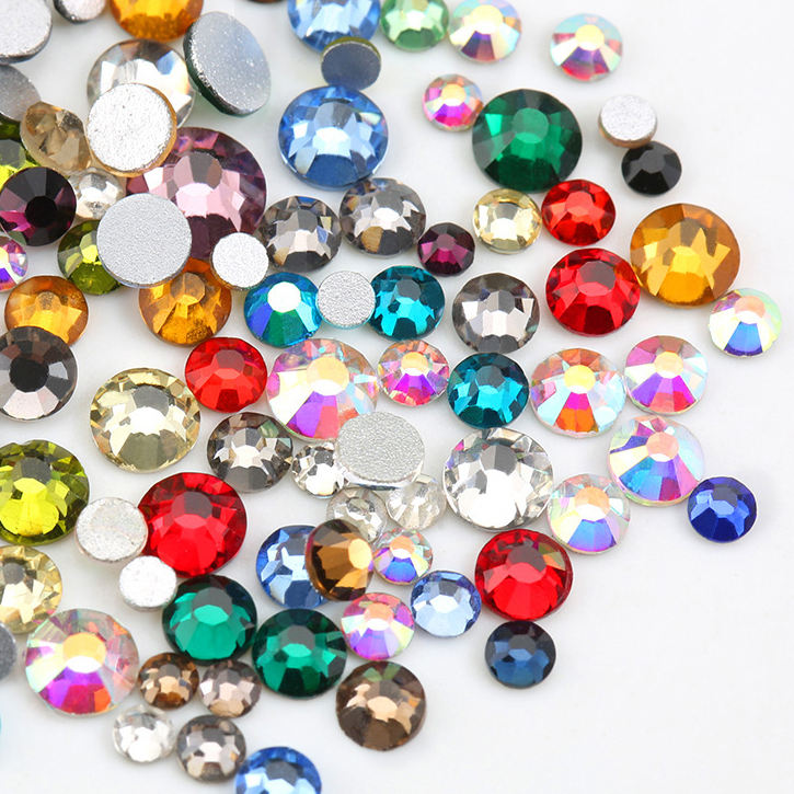 100gross Plated Colors AB Round Crystal Flat Back Non Hotfix Rhinestones for Clothing Decoration Garment Retailer
