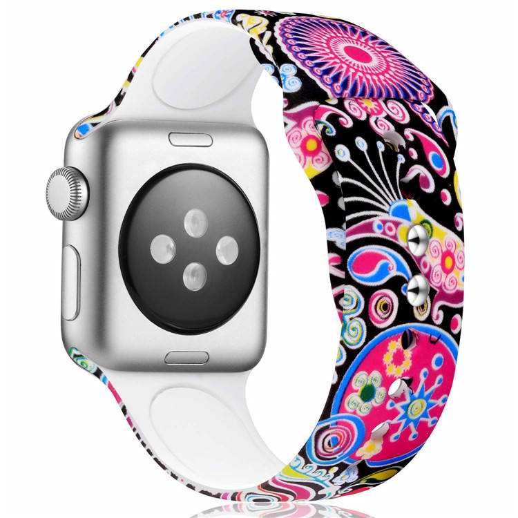 Fashion Custom Print Siliconen Horloge Band Voor Apple Horloge Serie 1 2 3 4 5