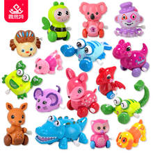 XST Colorful Cartoon Animals Wind Up Toys Cheap Plastic Clockwork Mechanical Wind Up Swing Toy for Kids